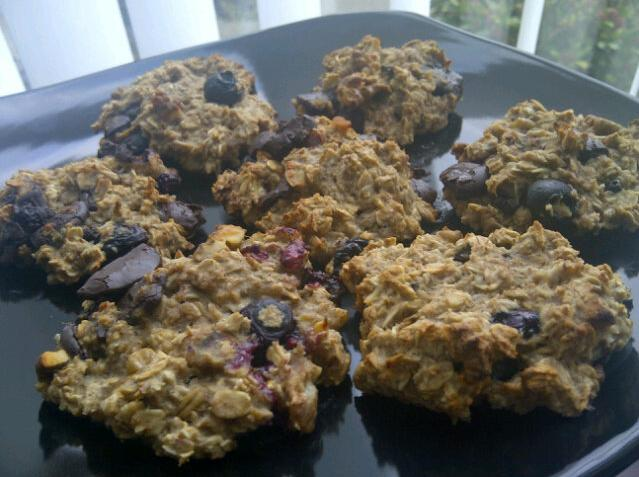Chocolate and Blueberry Oat Cookies