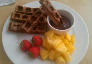 Healthy Chocolate Protein Waffles