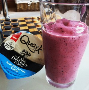 1 cup/120g Vanilla Quark, 1 Frozen Banana,7 Strawberries/1 cup Berries,1 tsp Maple Syrup, 200ml Milk, Ice-Cubes *serves 2* *140Kcal, 25g Carb, 11g Pro, 0.3g Fat*