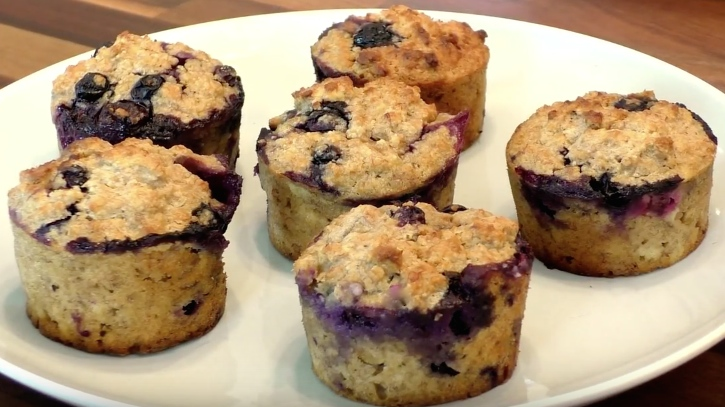 Healthy banana and blueberry muffins