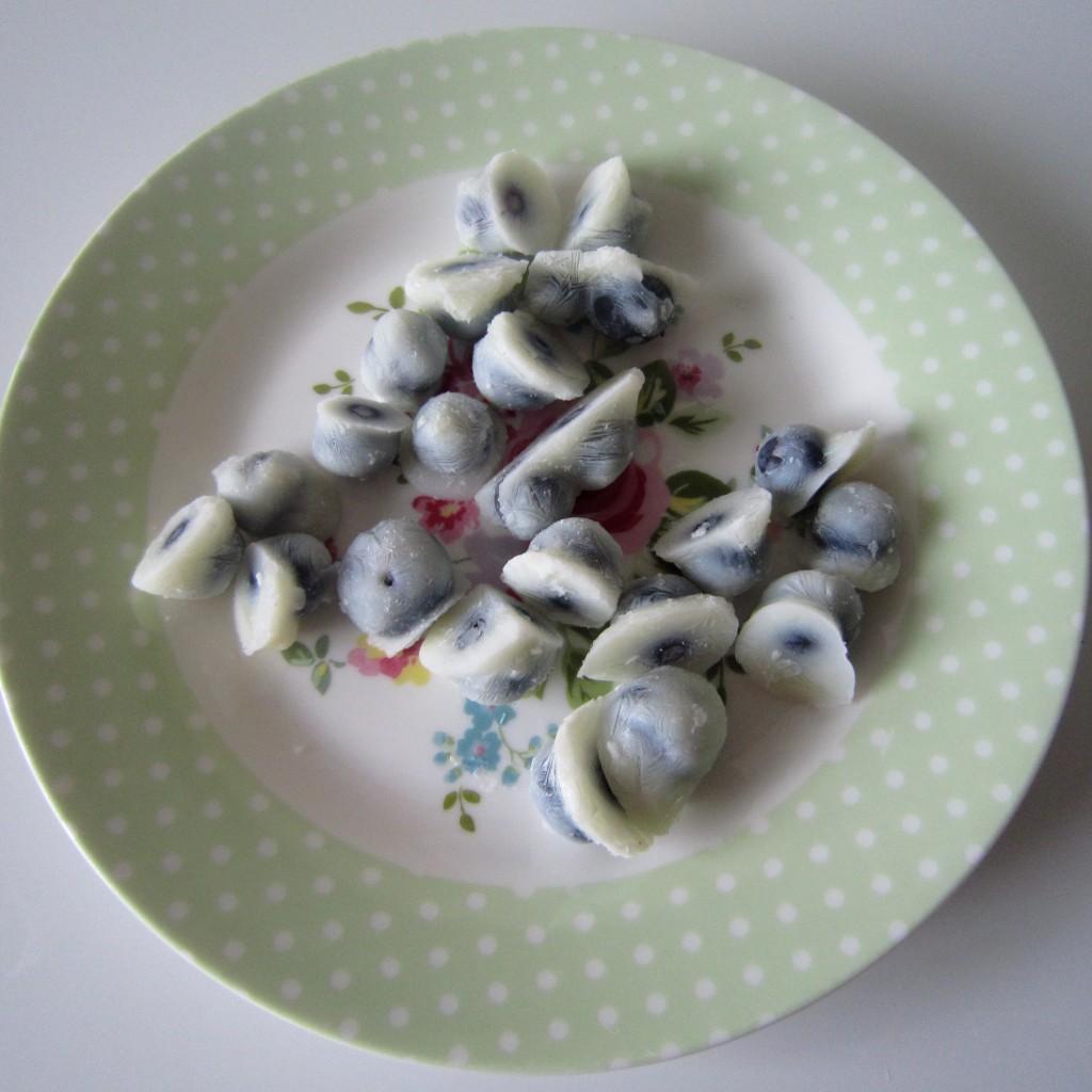 Yoghurt covered blueberries