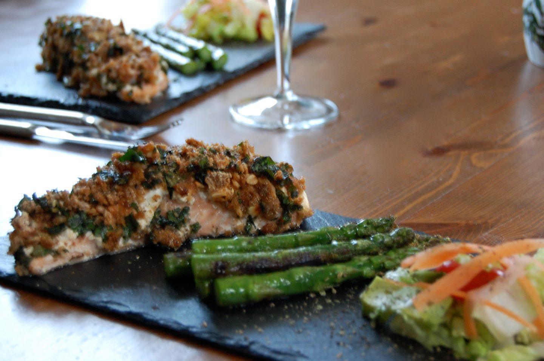 Crushed Ryvita & Greek Yoghurt Topped Salmon