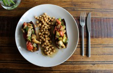 Baked Aubergine with Chickpeas