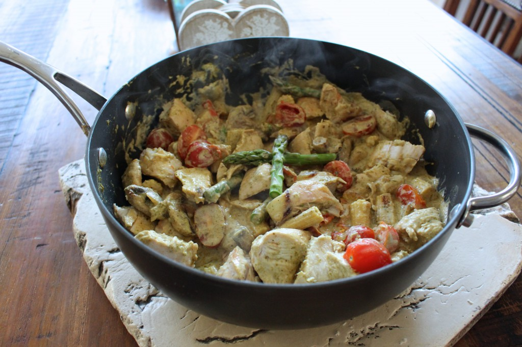 Pesto and creme fraiche chicken