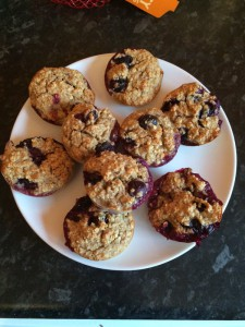 Oat and blueberry breakfast muffins