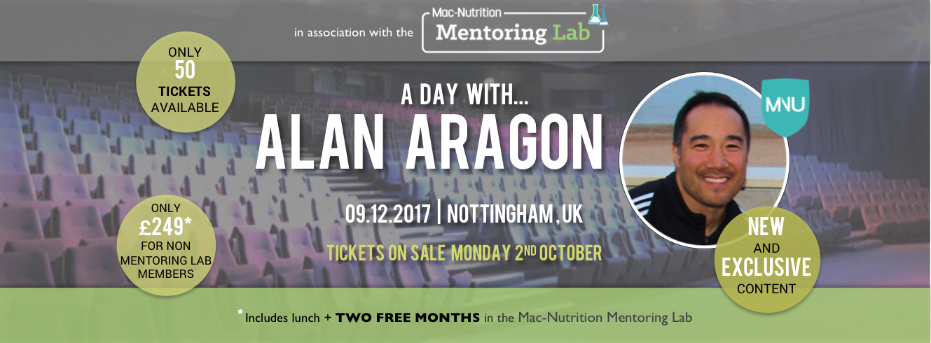 A Day with Alan Aragon – join me with a discounted ticket!