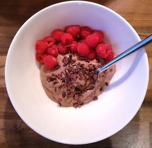 Yoghurt and hot chocolate