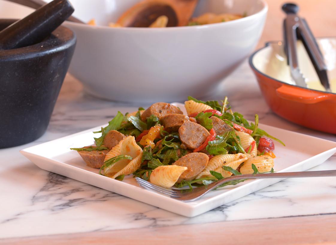 Quorn Sausage, Roast Pepper & Rocket Salad
