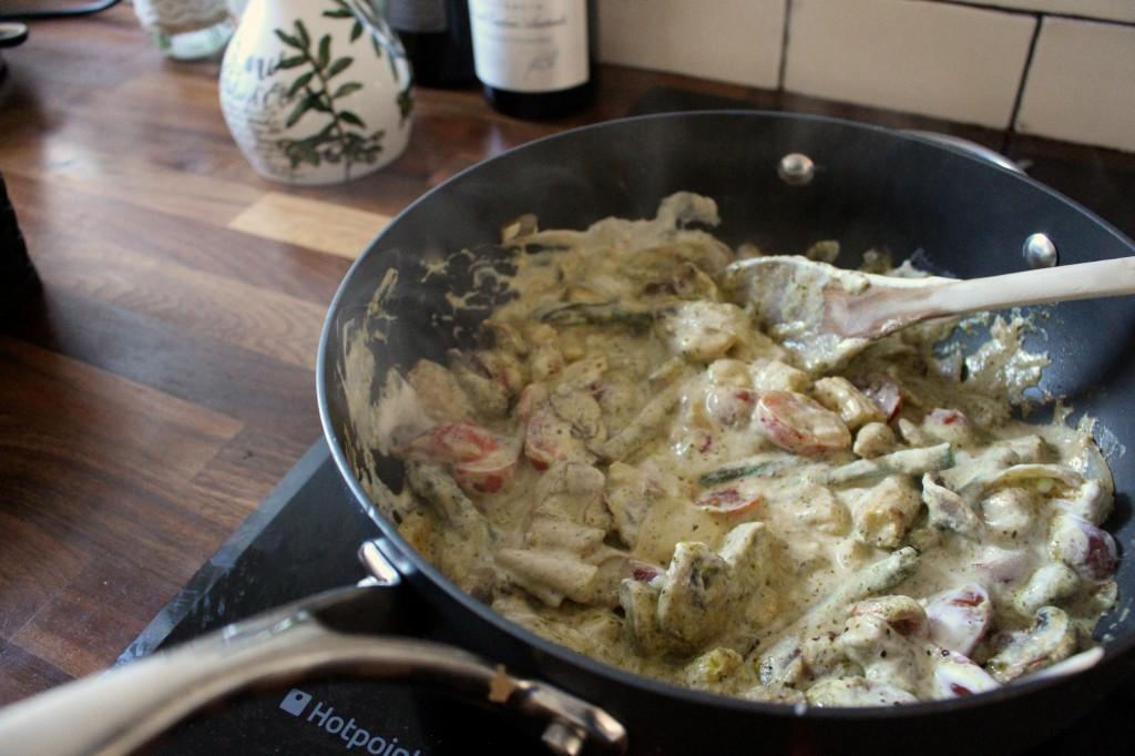 Pesto and creme fraiche chicken