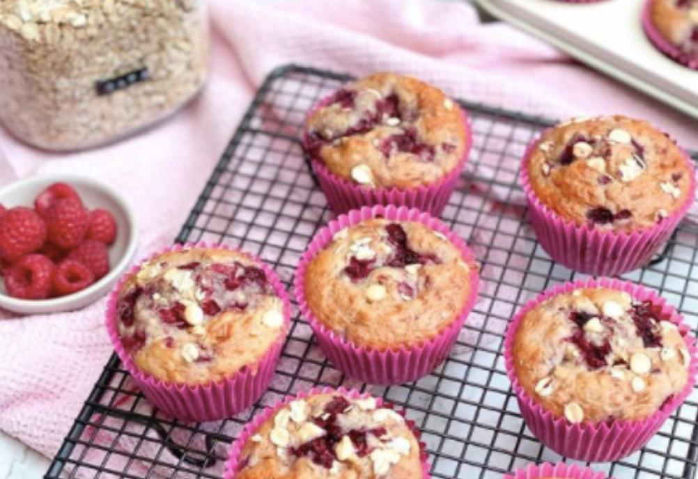Raspberry & White Chocolate Muffins!